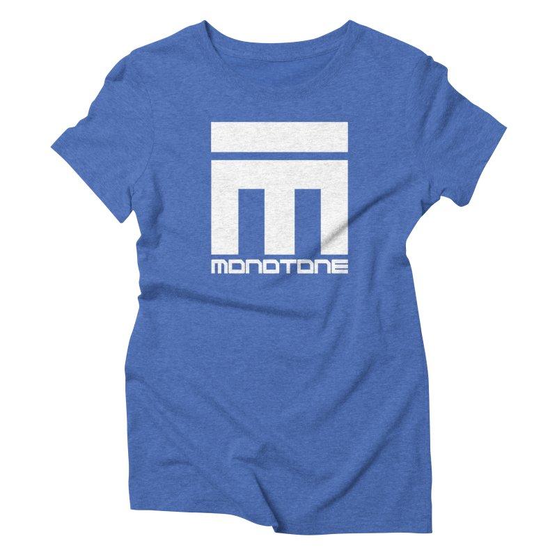 Monotone White Logo Large Women's Triblend T-Shirt by Monotone Apparel