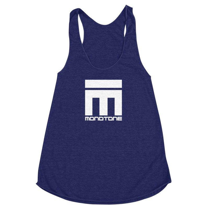 Monotone White Logo Large Women's Racerback Triblend Tank by Monotone Apparel