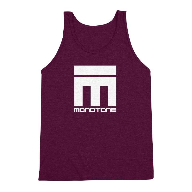 Monotone White Logo Large Men's Triblend Tank by Monotone Apparel