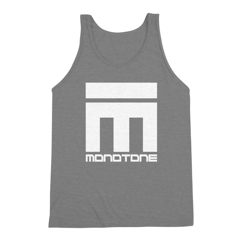 Monotone White Logo Large Men's Triblend Tank by Monotone Apparel