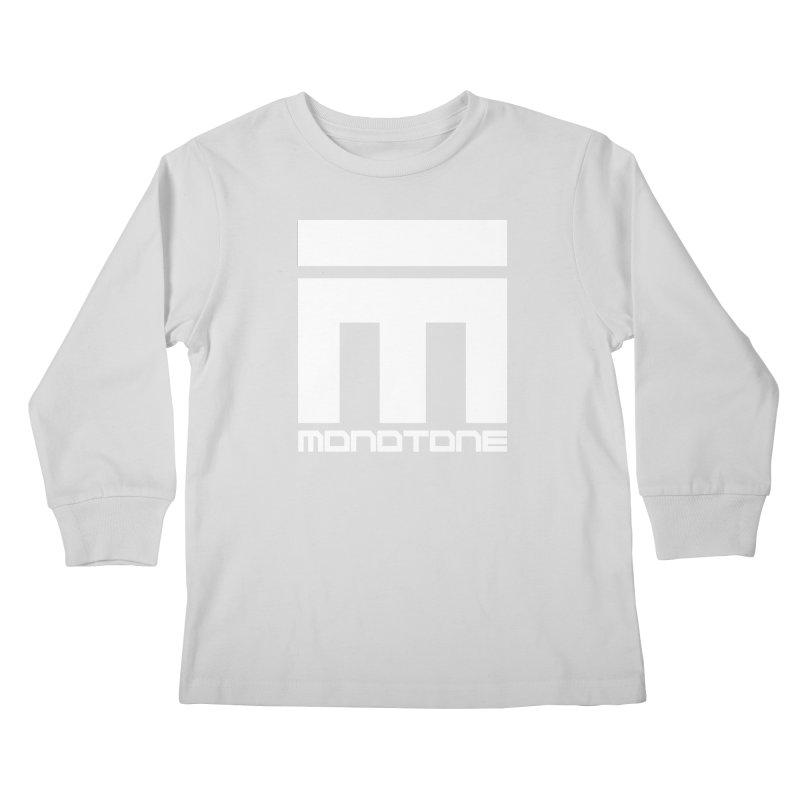 Monotone White Logo Large Kids Longsleeve T-Shirt by Monotone Apparel