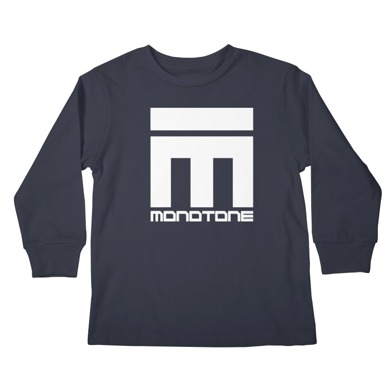 Monotone White Logo Large Kids Longsleeve T-Shirt by Monotone Apparel