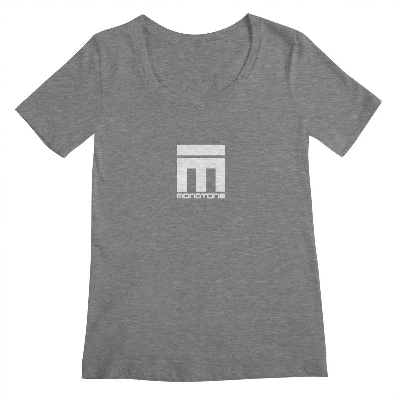 Monotone Logo White Women's Scoopneck by Monotone Apparel