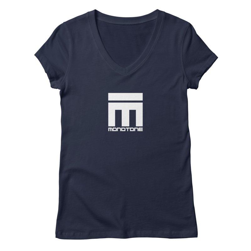 Monotone Logo White Women's Regular V-Neck by Monotone Apparel