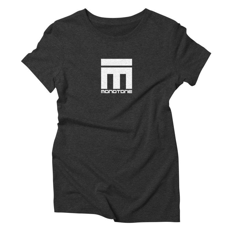 Monotone Logo White Women's Triblend T-Shirt by Monotone Apparel