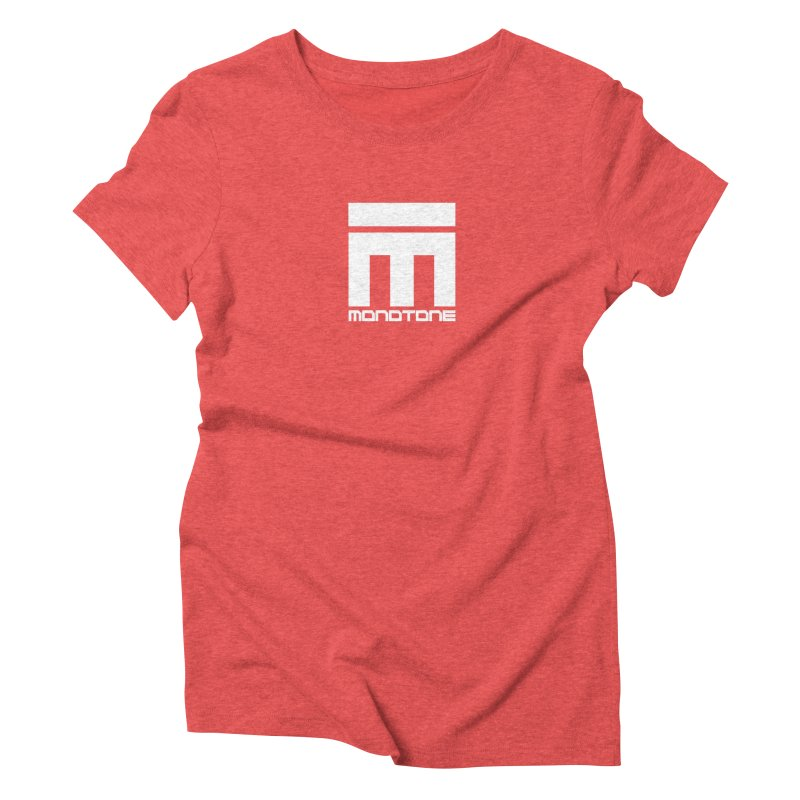 Monotone Logo White in Women's Triblend T-Shirt Chili Red by Monotone Apparel