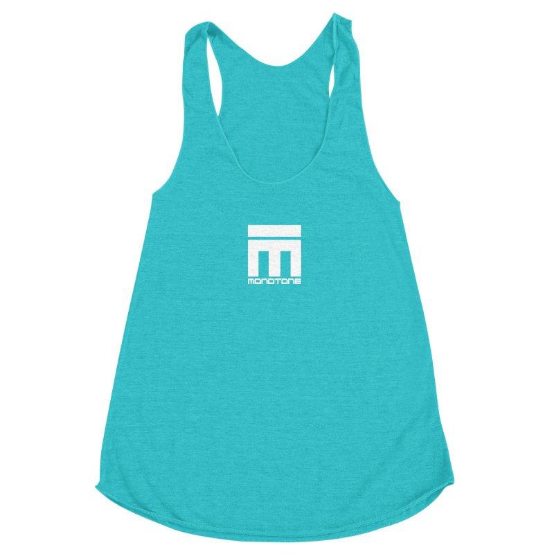 Monotone Logo White Women's Racerback Triblend Tank by Monotone Apparel