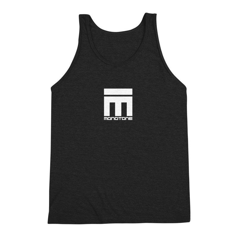 Monotone Logo White Men's Triblend Tank by Monotone Apparel