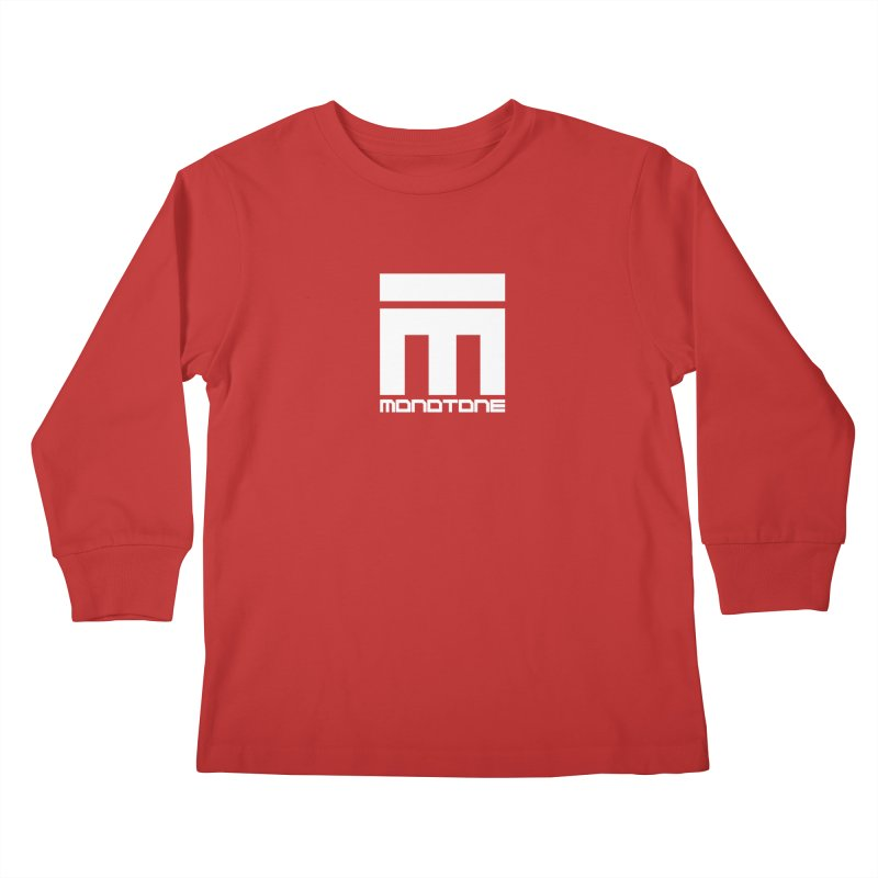 Monotone Logo White Kids Longsleeve T-Shirt by Monotone Apparel