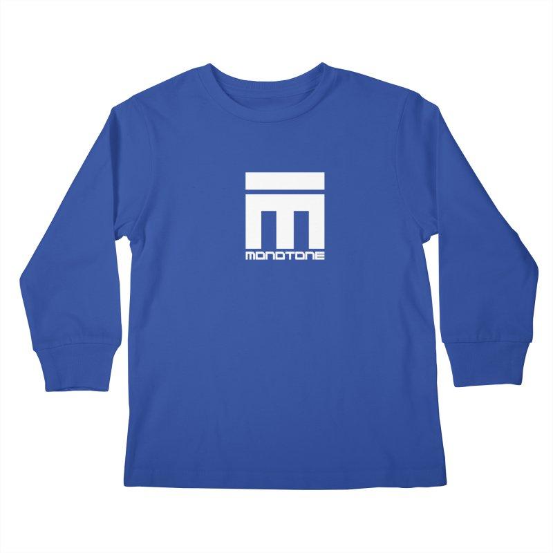 Monotone Logo White Kids Longsleeve T-Shirt by Monotone Apparel