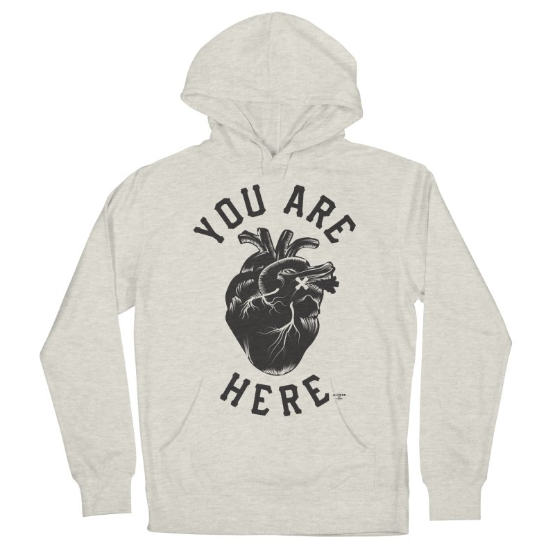 You are here Women's French Terry Pullover Hoody by MonsieurAlfred's Artist Shop
