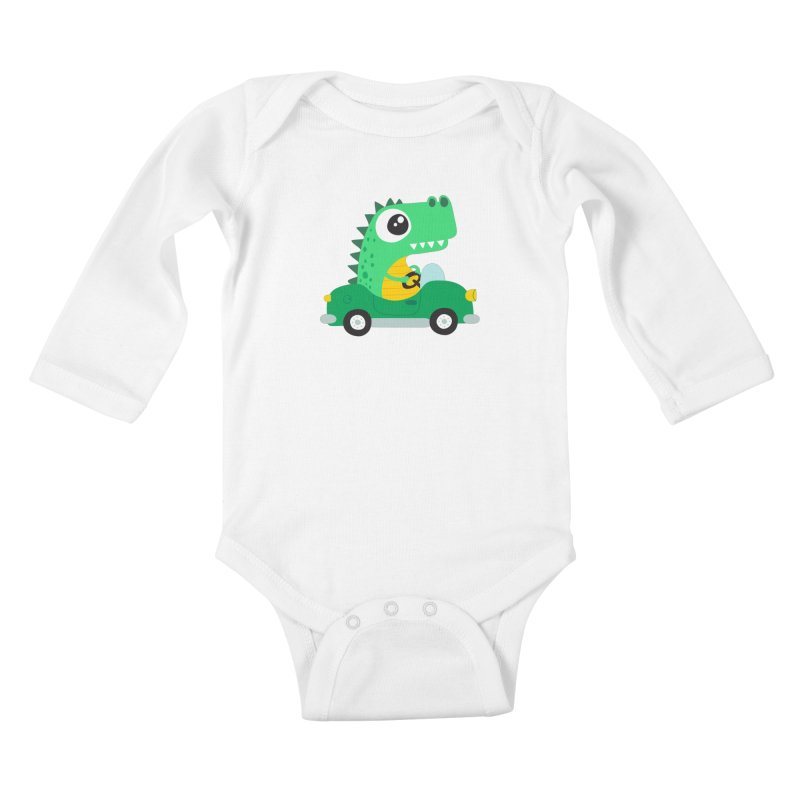 Dino Car Kids Baby Longsleeve Bodysuit by La Boutique de Monsieur Dupont