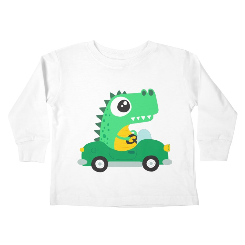 Dino Car Kids Toddler Longsleeve T-Shirt by La Boutique de Monsieur Dupont