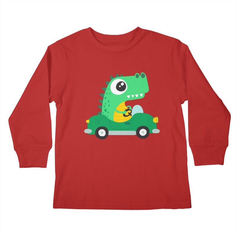 Dino Car Kids Longsleeve T-Shirt by La Boutique de Monsieur Dupont