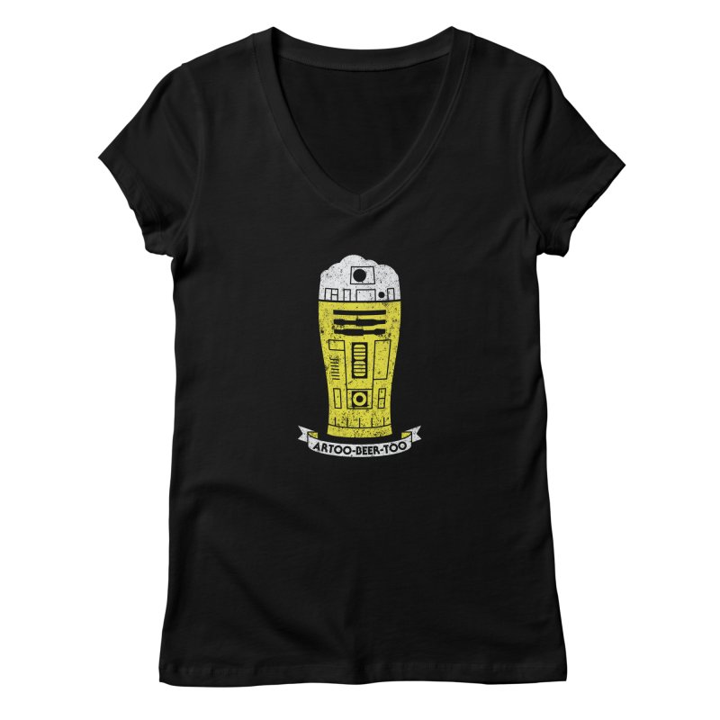 Artoo-Beer-Too Women's V-Neck by monsieurgordon's Artist Shop