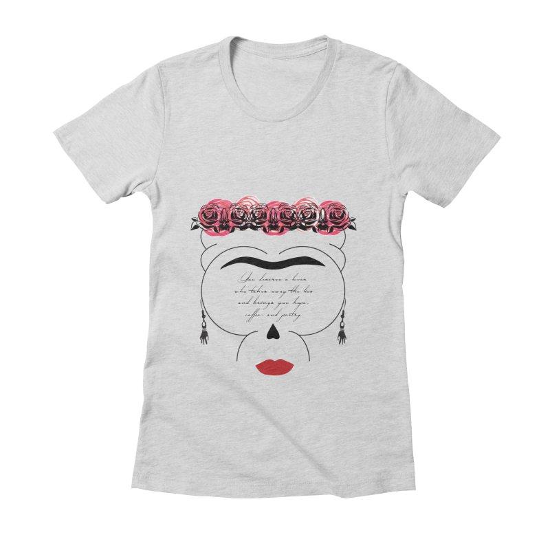 Frida's skull Women's Fitted T-Shirt by Monsterville's Artist Shop