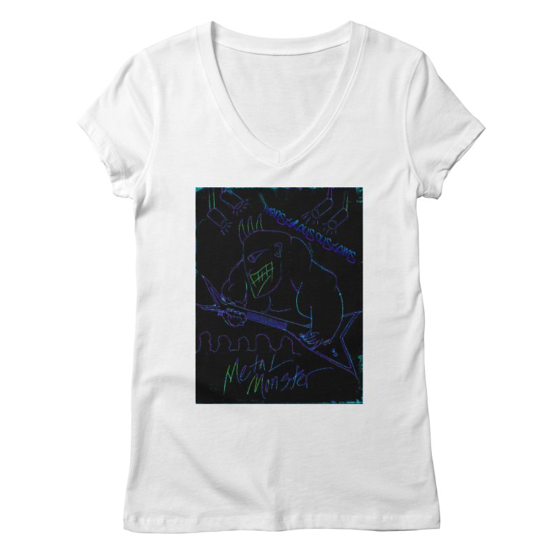 Metal Monster2 Women's Regular V-Neck by Monstrous Customs