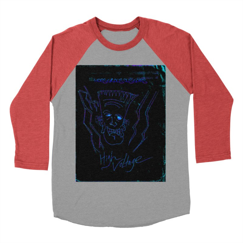 High Voltage Frank2 Men's Baseball Triblend Longsleeve T-Shirt by Monstrous Customs