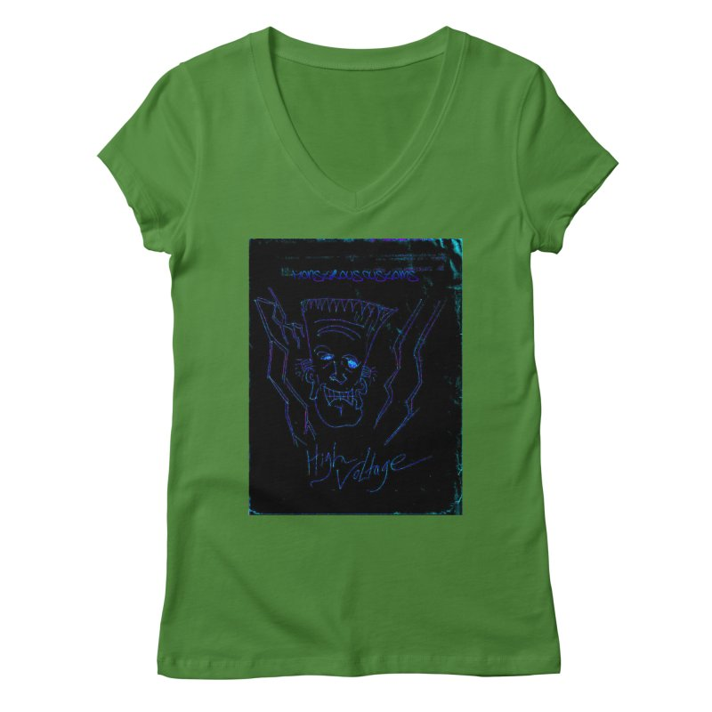 High Voltage Frank2 Women's V-Neck by Monstrous Customs