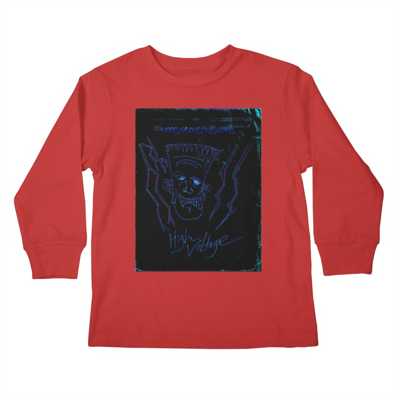 High Voltage Frank2 Kids Longsleeve T-Shirt by Monstrous Customs