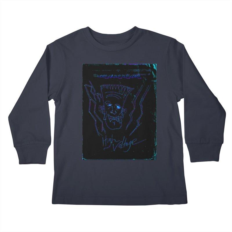 High Voltage Frank2 Kids Longsleeve T-Shirt by Monstrous Customs