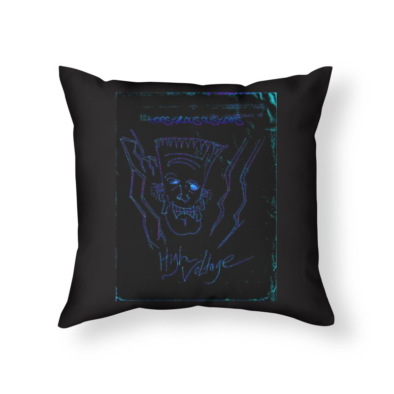 High Voltage Frank2 Home Throw Pillow by Monstrous Customs