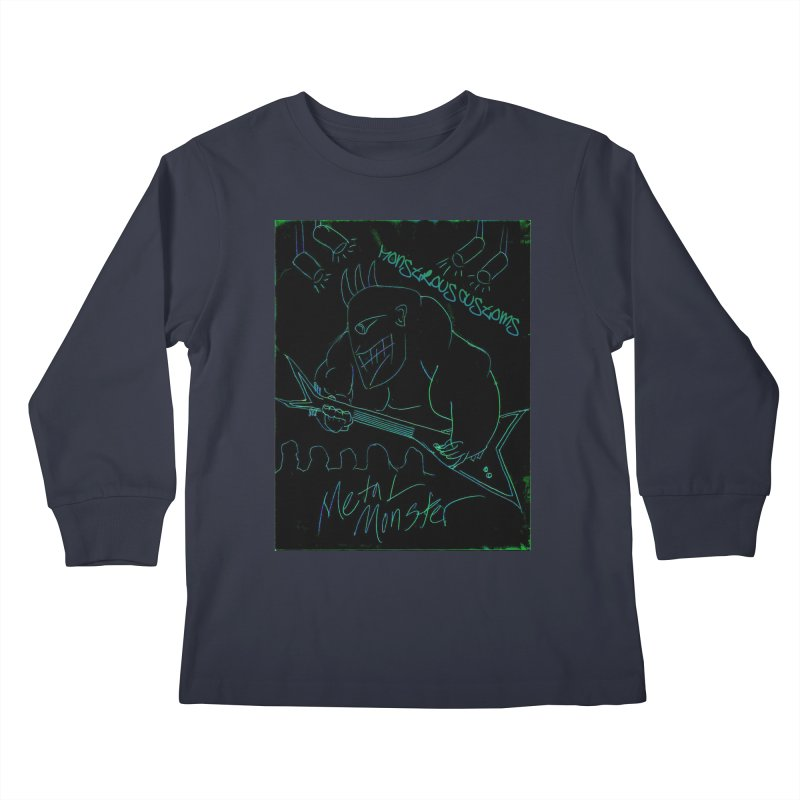 Metal Monster Kids Longsleeve T-Shirt by Monstrous Customs