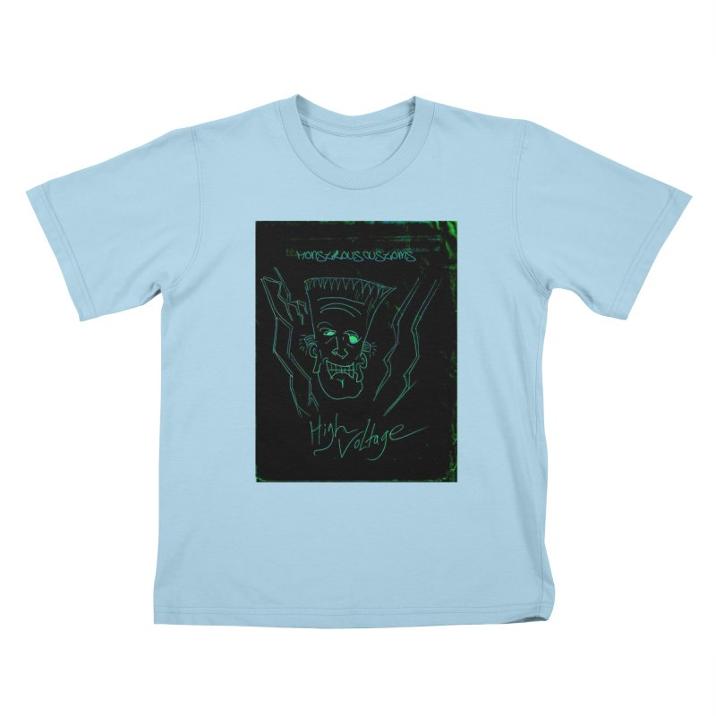 High Voltage Frank Kids T-Shirt by Monstrous Customs