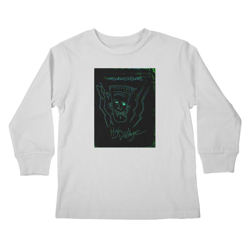 High Voltage Frank Kids Longsleeve T-Shirt by Monstrous Customs