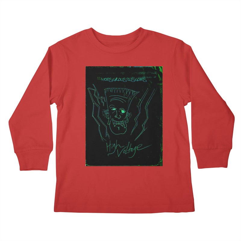 High Voltage Frank Kids Longsleeve T-Shirt by Monstrous Customs