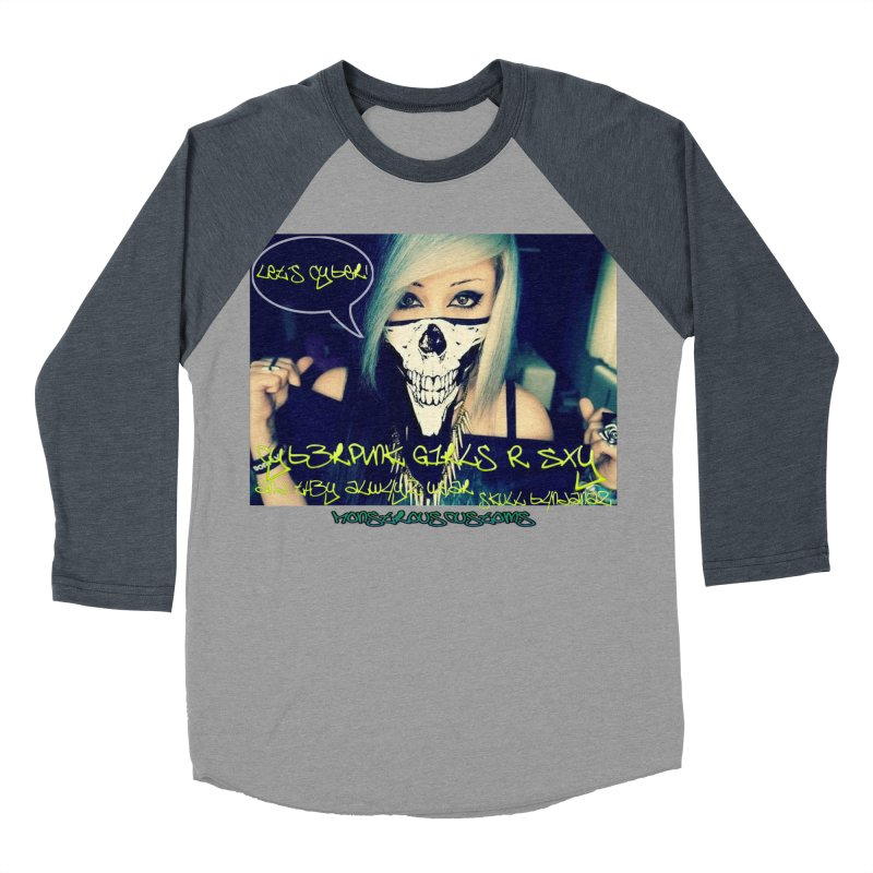 Cyber Girls R SXY Men's Baseball Triblend Longsleeve T-Shirt by Monstrous Customs