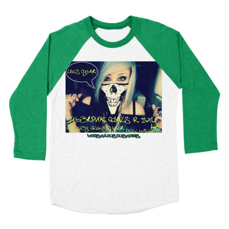Cyber Girls R SXY Men's Baseball Triblend T-Shirt by Monstrous Customs