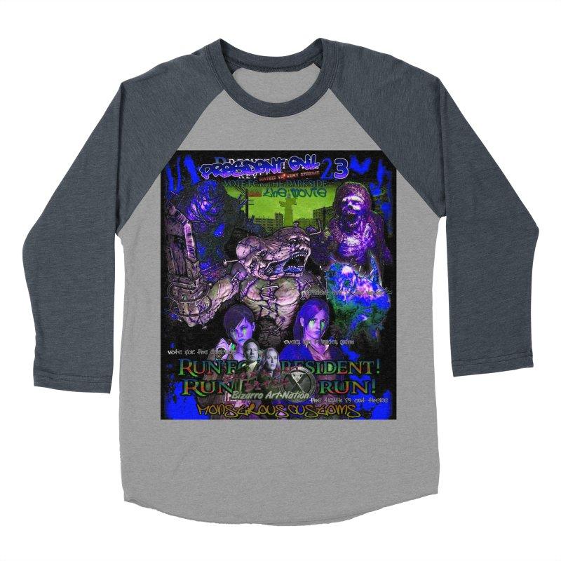 President Evil 23: Dark Night Men's Baseball Triblend Longsleeve T-Shirt by Monstrous Customs