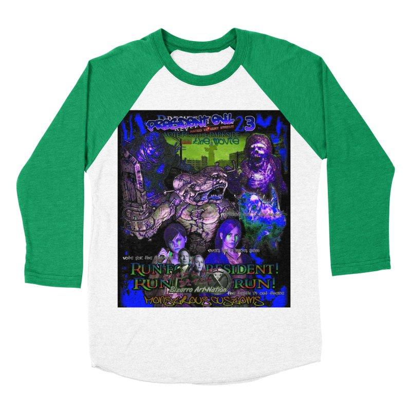 President Evil 23: Dark Night Men's Baseball Triblend Longsleeve T-Shirt by Monstrous Customs