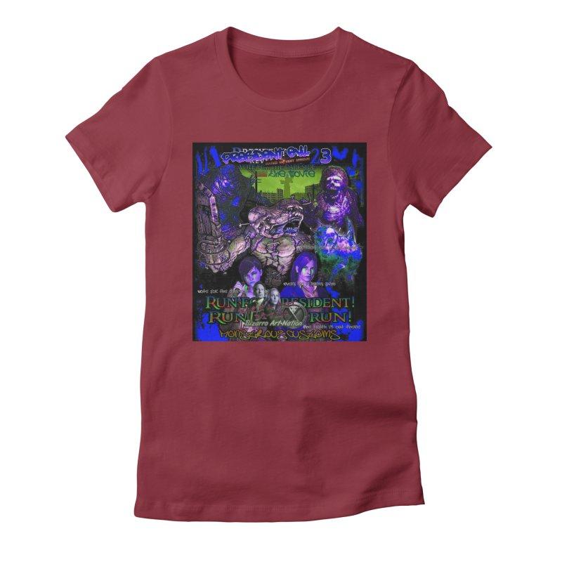 President Evil 23: Dark Night Women's Fitted T-Shirt by Monstrous Customs