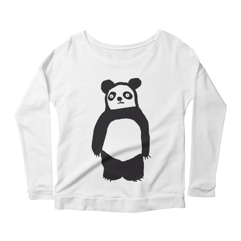 Happy Panda Women's Longsleeve Scoopneck  by montt's Artist Shop