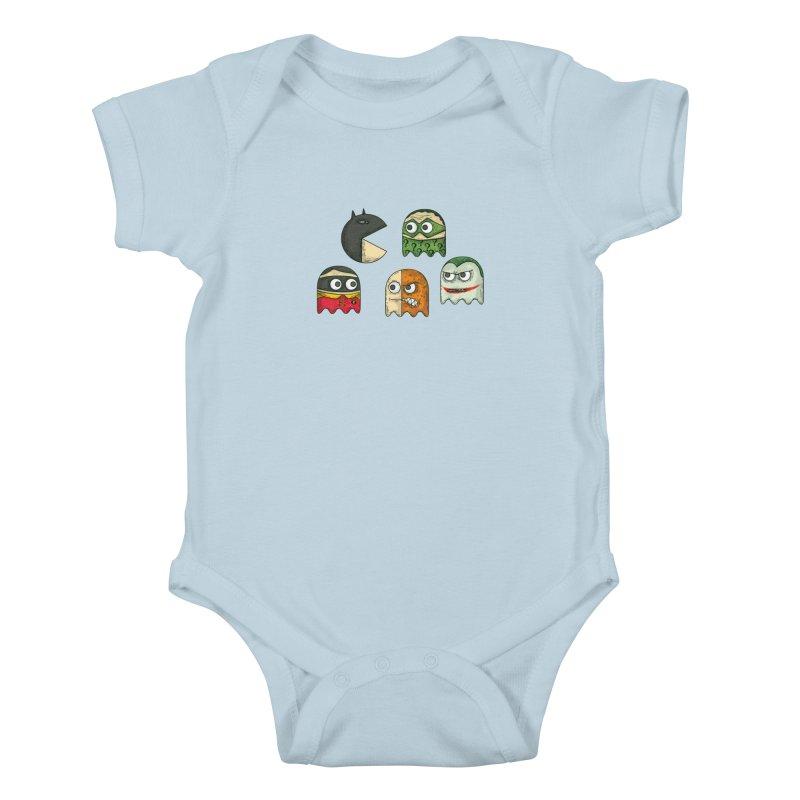 Pacman & Robin Kids Baby Bodysuit by montt's Artist Shop