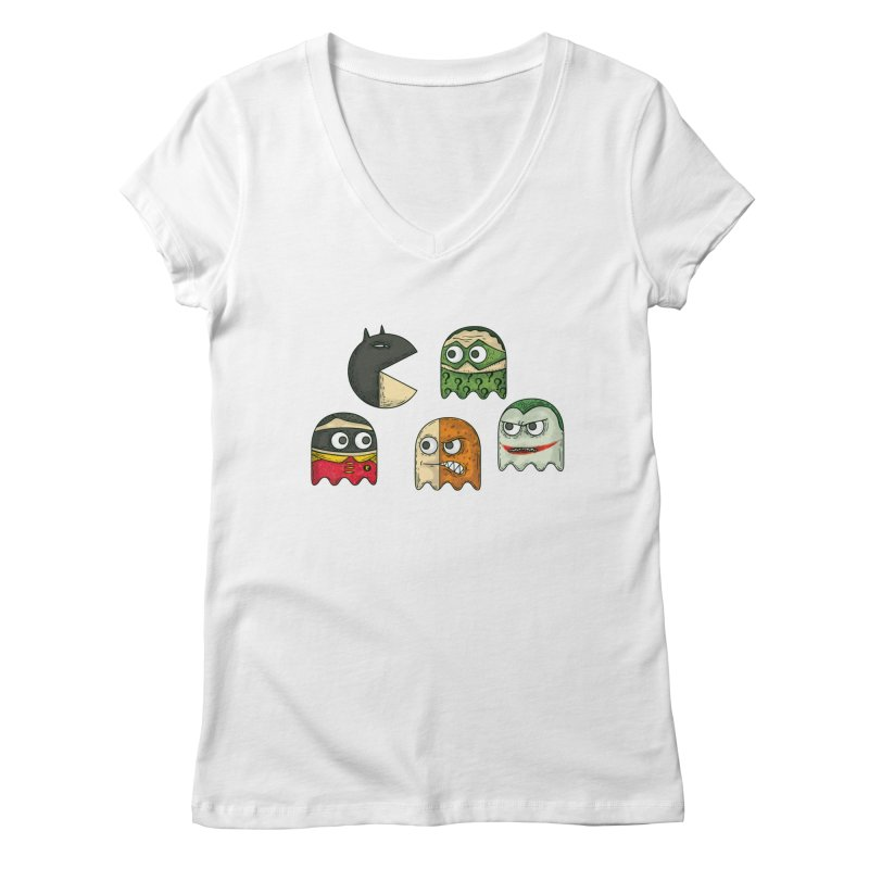 Pacman & Robin Women's V-Neck by montt's Artist Shop