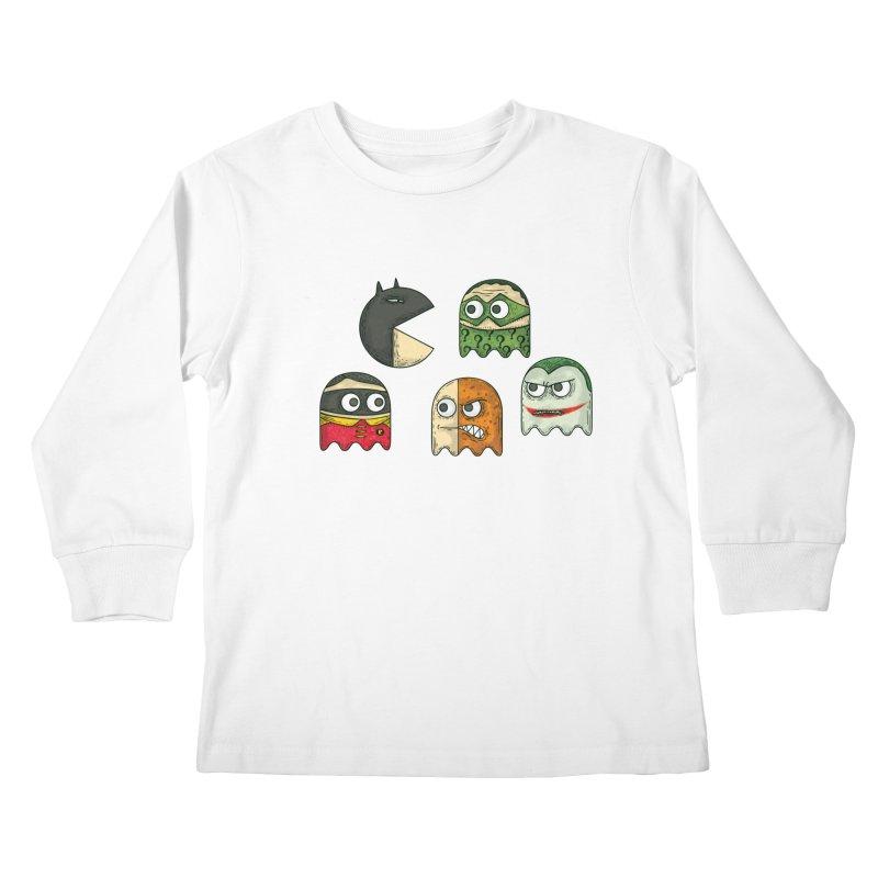 Pacman & Robin Kids Longsleeve T-Shirt by montt's Artist Shop