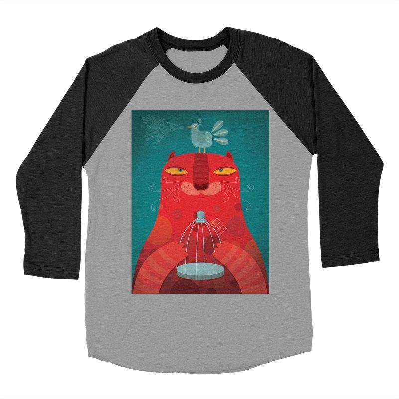 Gato relajado Women's Baseball Triblend T-Shirt by montt's Artist Shop