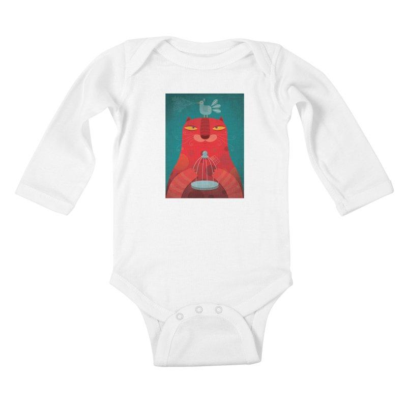 Gato relajado Kids Baby Longsleeve Bodysuit by montt's Artist Shop