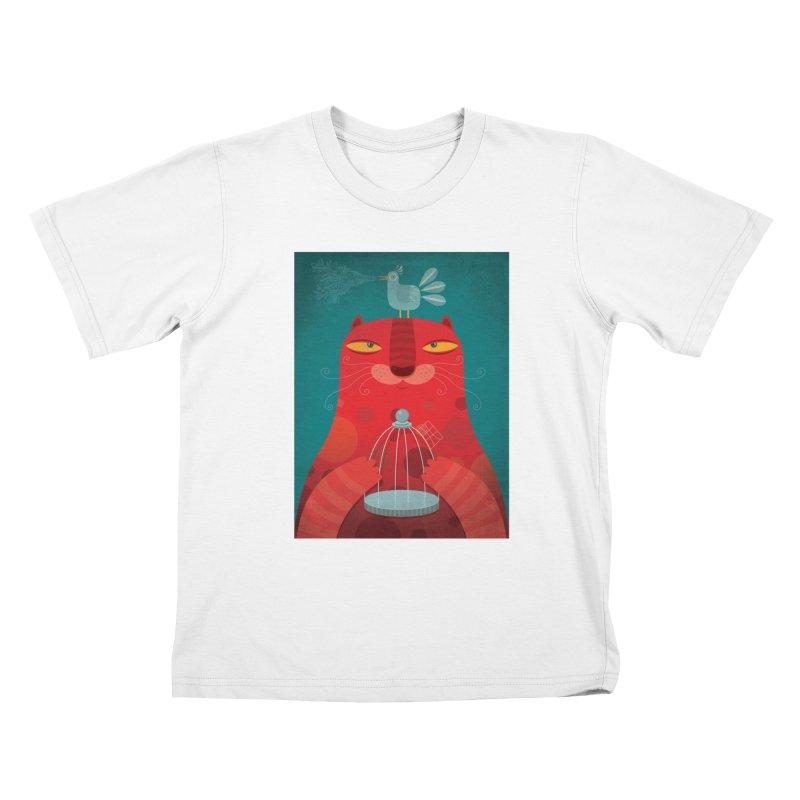 Gato relajado Kids T-shirt by montt's Artist Shop
