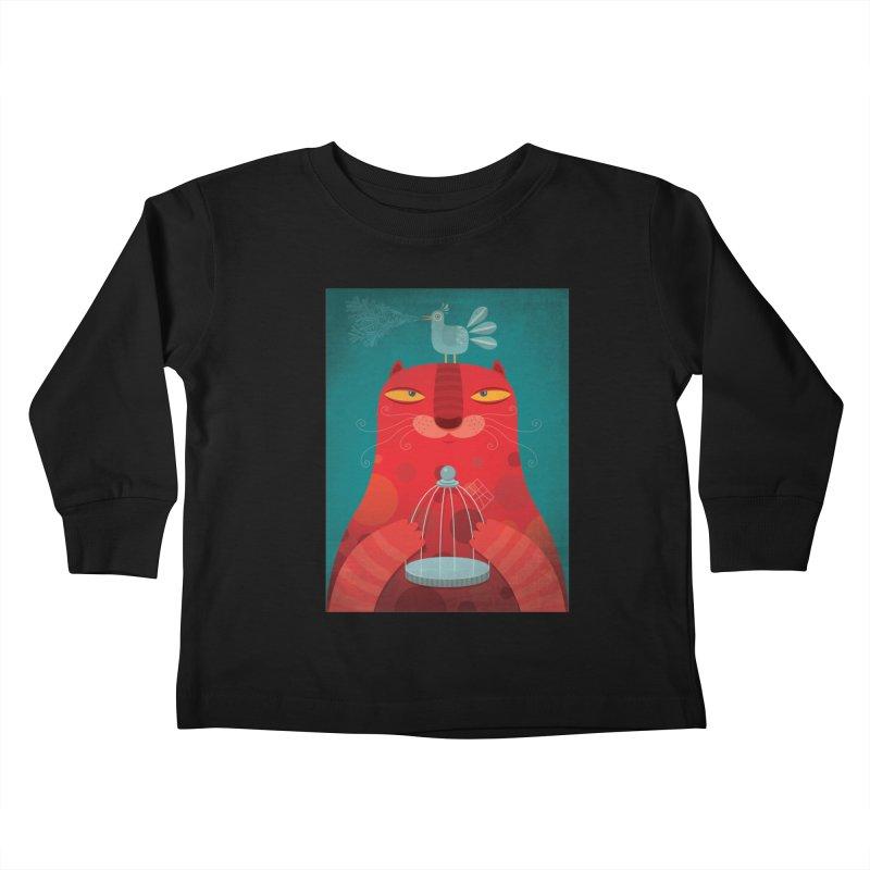 Gato relajado Kids Toddler Longsleeve T-Shirt by montt's Artist Shop