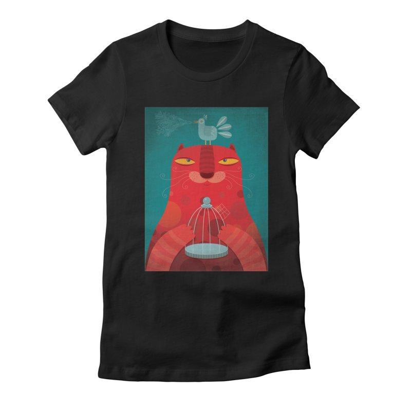 Gato relajado Women's Fitted T-Shirt by montt's Artist Shop