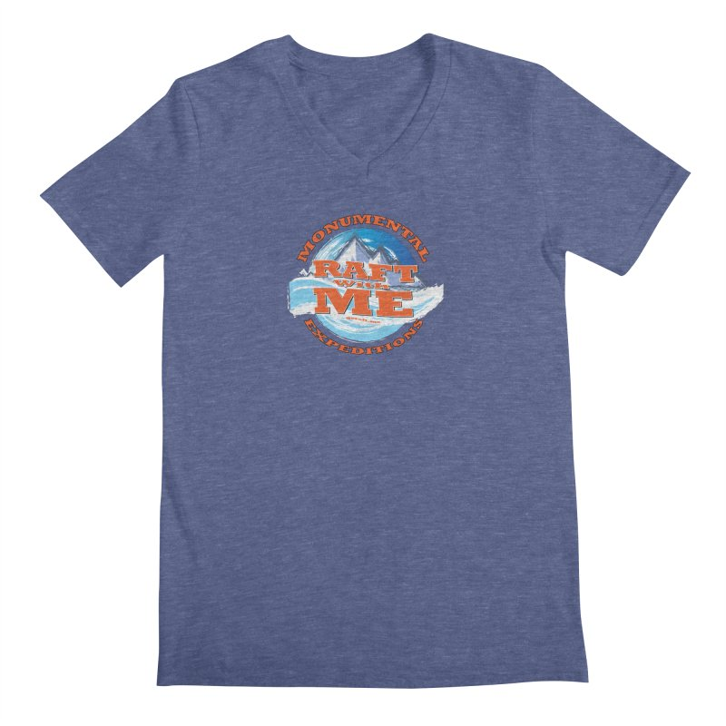 Raft With ME - Orange text Men's Regular V-Neck by Monumental Expeditions