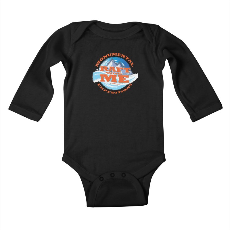 Raft With ME - Orange text Kids Baby Longsleeve Bodysuit by Monumental Expeditions