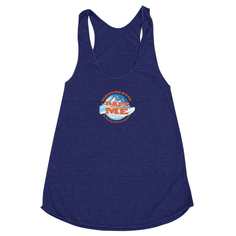 Raft With ME - Orange text Women's Racerback Triblend Tank by Monumental Expeditions