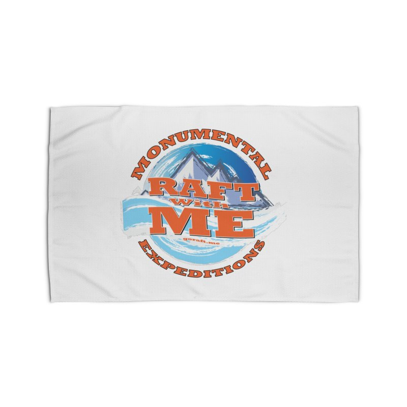 Raft With ME - Orange text Home Rug by Monumental Expeditions