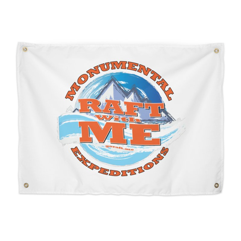Raft With ME - Orange text Home Tapestry by Monumental Expeditions