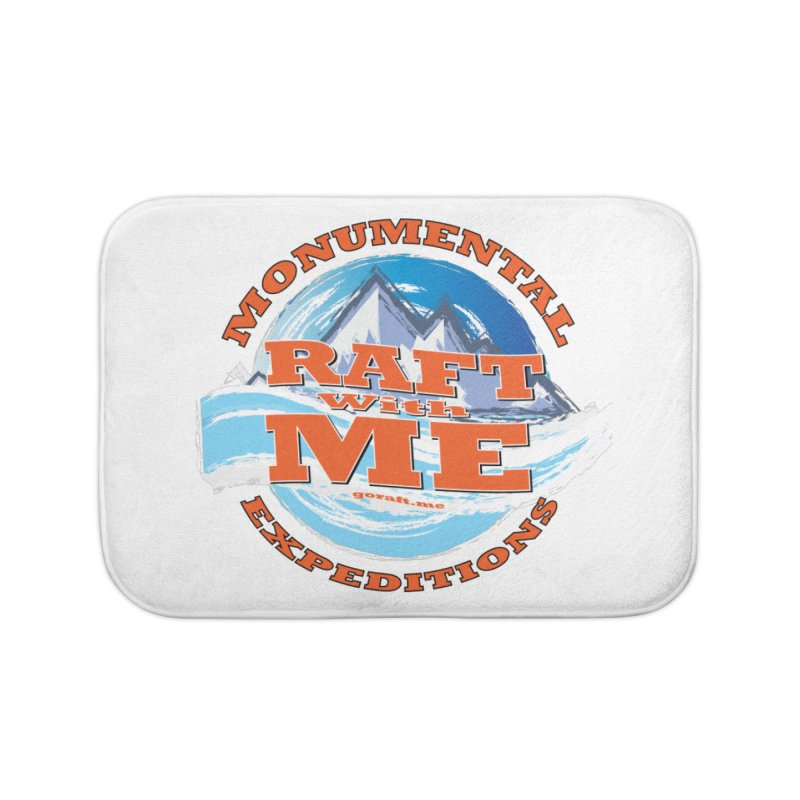 Raft With ME - Orange text Home Bath Mat by Monumental Expeditions